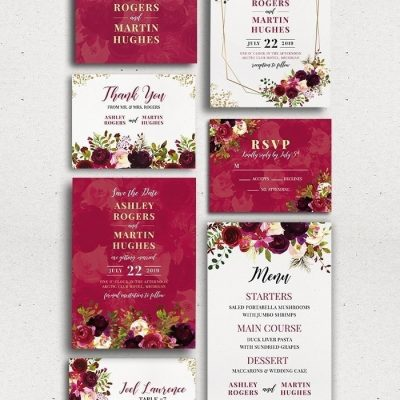 Burgundy Wedding Set Photoshop PSD Templates