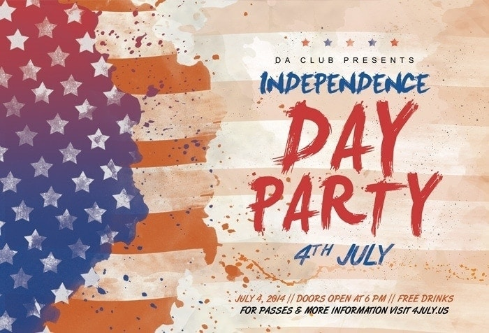 4th of July Flyer Photoshop Template PSD