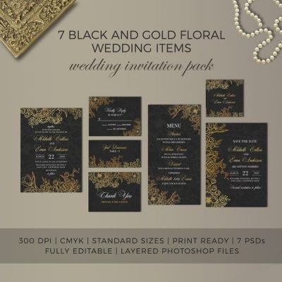Black & Gold Wedding Set Photoshop PSD Template