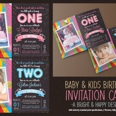 Kids Birthday Invitation Card Psd Template
