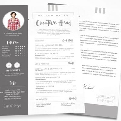 Creative Resume Photoshop PSD Template