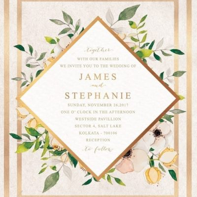 Watercolour Wedding Invitation Photoshop PSD Templates