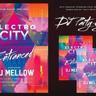 Electro DJ Club Flyer Photoshop PSD Template