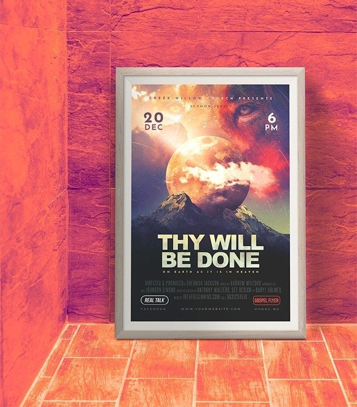Church Sermon Theme Poster PSD Template - Thy Will Be Done