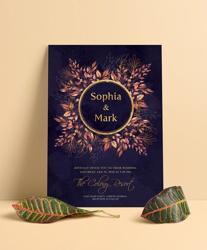 Floral Wedding Invite PSD Template
