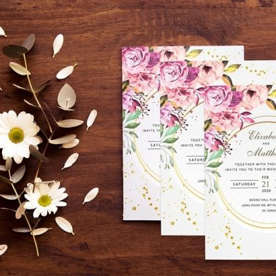 Mordern Floral Wedding Invitation
